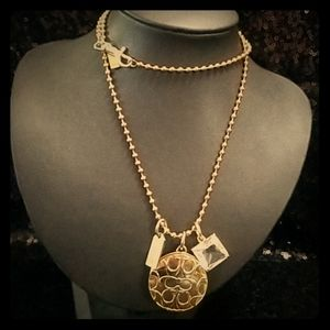 Coach! Long Gold Photo Locket Necklace/ Chain